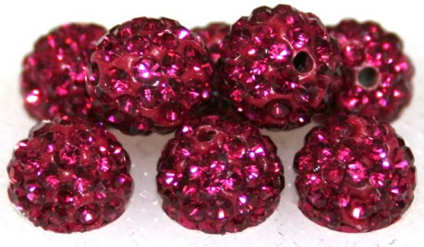8mm Fuchsia Pink 70 Stone Pave Crystal Beads- 2 Hole PCB08-70-024